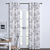 Lilac Watercolour Butterfly Floral Eyelet Curtains 66 X 90in