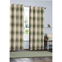 Angus Green Check Eyelet Curtains - 66 x 72in