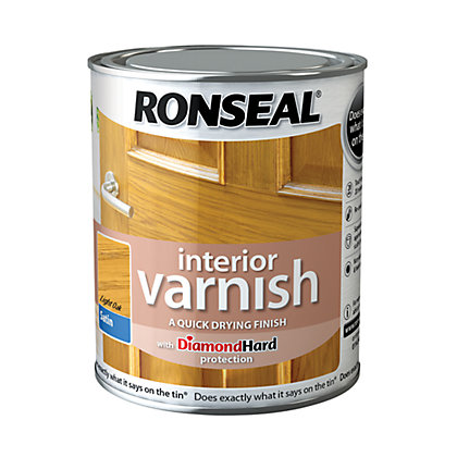 Image for Ronseal Interior Varnish Satin Light Oak - 250ml from StoreName