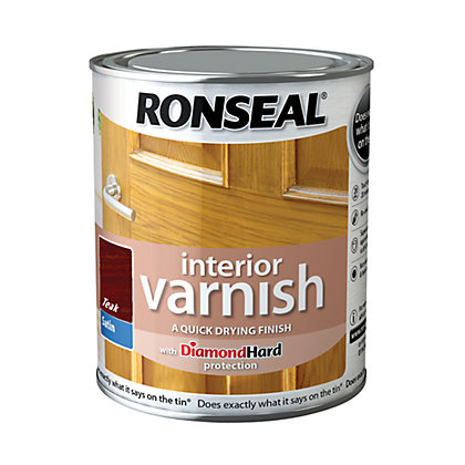 Image for Ronseal Interior Varnish Satin Teak - 250ml from StoreName