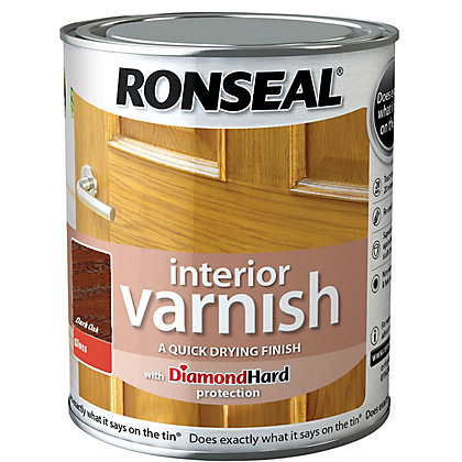 Image for Ronseal Interior Varnish Gloss Dark Oak - 750ml from StoreName