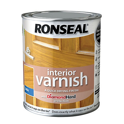 Image for Ronseal Interior Varnish Satin Light Oak - 750ml from StoreName