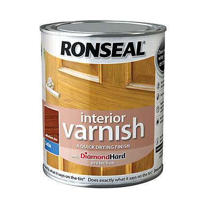 Image for Ronseal Interior Varnish Satin Medium Oak - 750ml from StoreName
