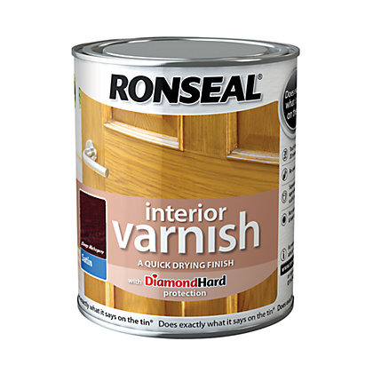 Image for Ronseal Interior Varnish Satin Deep Mahogany - 750ml from StoreName