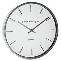 White and silver wall clock