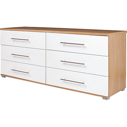 Modular 6 Drawer Chest Oak And White At Homebase Be Inspired And Make Your House A Home