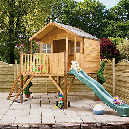 Image for Mercia Lodge Tower Wooden Playhouse With Slide from StoreName