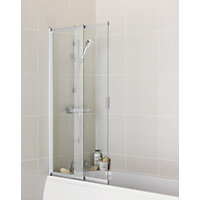 aqualux semi frameless shower screen 5mm glass 2 panel sliding bath shower screen
