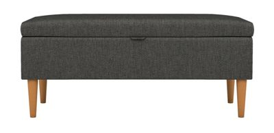 Schreiber Bed End Storage Bench Chunky Weave Grey (Made to