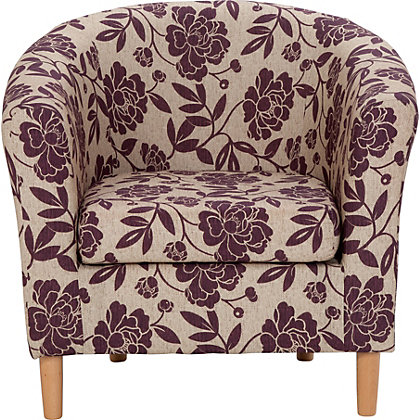 Floral Fabric Tub Chair - Cranberry.