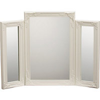Living Cream Swept Triple Dressing Table Mirror.
