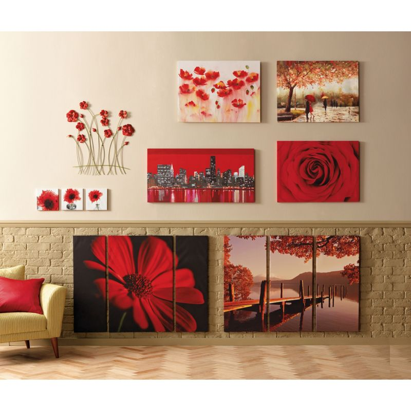 Red flower metal wall art for Red metal wall art