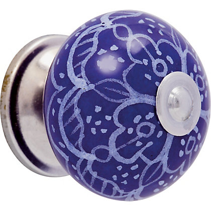Image for Printed Ceramic Knob - Blue from StoreName