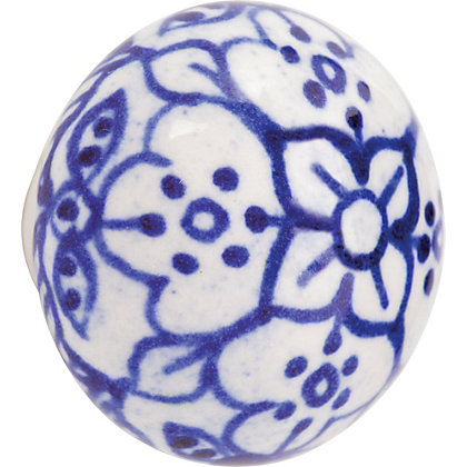 Image for Printed Ceramic Knob - White from StoreName