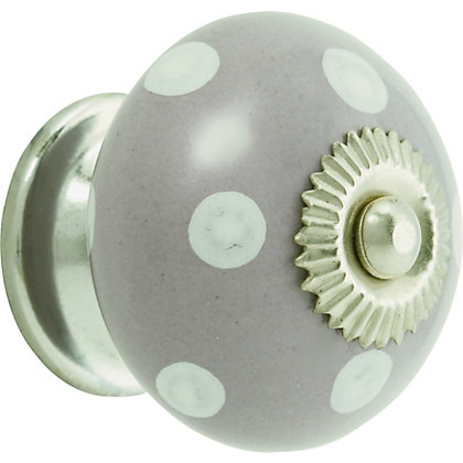 Image for White Dots Ceramic Knob - Grey from StoreName