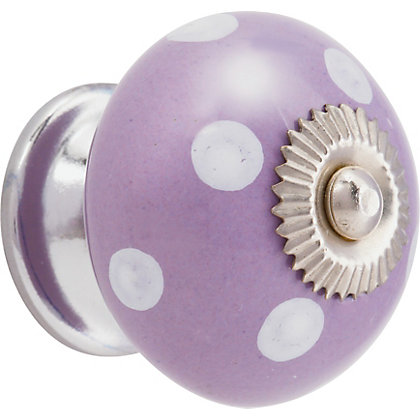 Image for White Dots Ceramic Knob - Purple from StoreName