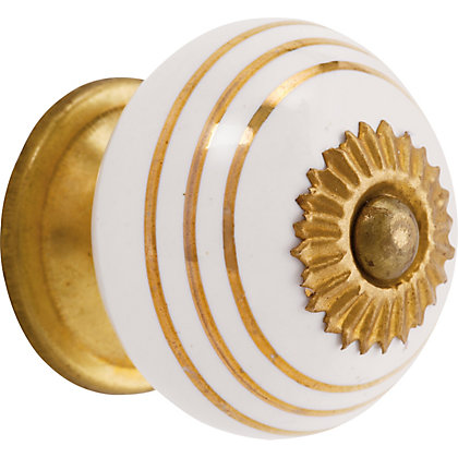 Image for Swirl Ceramic Knob - Gold and White from StoreName