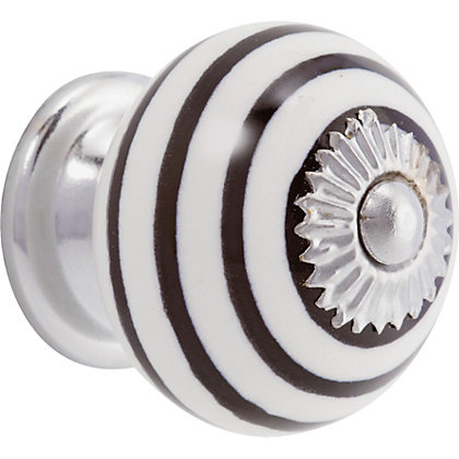Image for Swirl Ceramic Knob - Black and White from StoreName