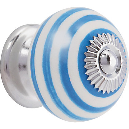 Image for Swirl Ceramic Knob - Sky Blue and White from StoreName