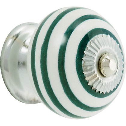 Image for Swirl Ceramic Knob - Sea Green and White from StoreName
