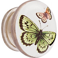 Butterfly Ceramic Knob - Multicoloured