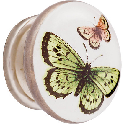 Image for Butterfly Ceramic Knob - Multicoloured from StoreName