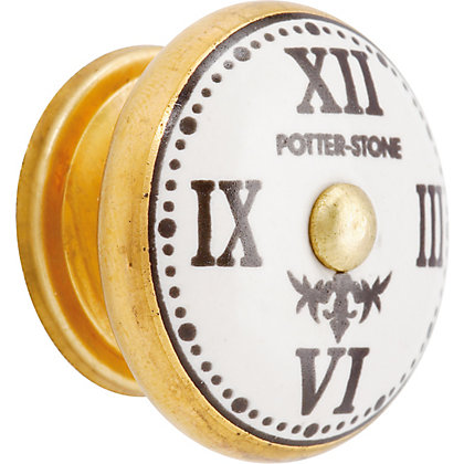 Image for Clock Ceramic Knob - White and Gold from StoreName