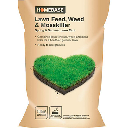 Image for Homebase Lawn Feed, Weed & Moss Killer - 400M2 Bag from StoreName