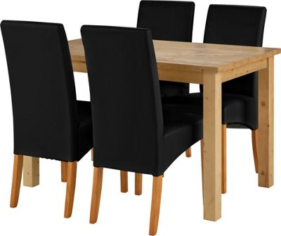 Erin Oak Dining Table and 4 Black Skirted Chairs.