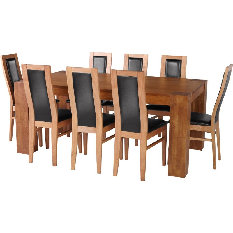 Living Warwick Oak Dining Table And 8 Black Chairs 439