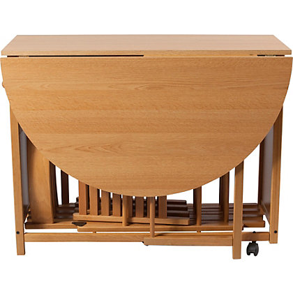 Butterfly Oval Dining Table And 4 Oak Stain Chairs