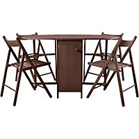 Butterfly Oval Dining Set and 4 Chocolate Chairs