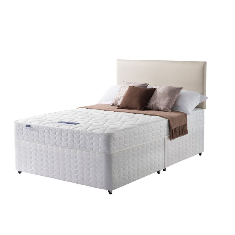 Silentnight travis miracoil small double divan bed for Double divan bed with firm mattress