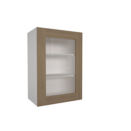 Image for Simply Hygena Stratford Oak - 500mm Glass Wall Cabinet from StoreName