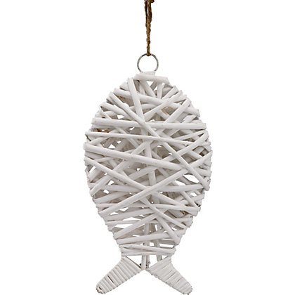 Image for Wicker Decorative Fish - White from StoreName