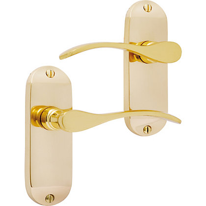 Image for Helena Lever Latch Short - Polished Brass from StoreName