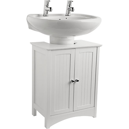 Under sink storage unit white for Homebase bathroom storage units