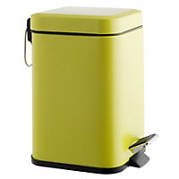 Habitat Poli Stainless Steel Bathroom Bin 3L - Saffron Green