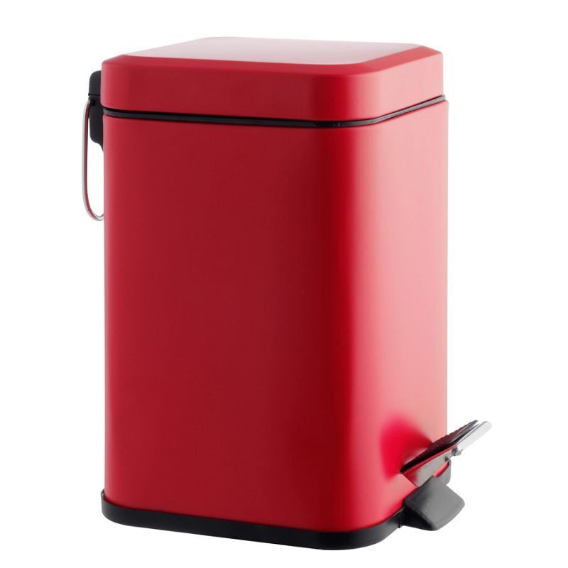 Habitat poli stainless steel bathroom bin 3l raspberry pink for Pink bathroom bin