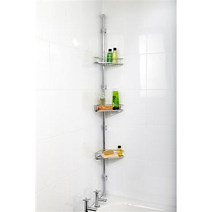 Image for Bathroom Corner Storage Basket Set - Chrome from StoreName