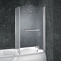 aqualux over bath shower screen 5mm glass lakes classic framed triple panel bath shower screen