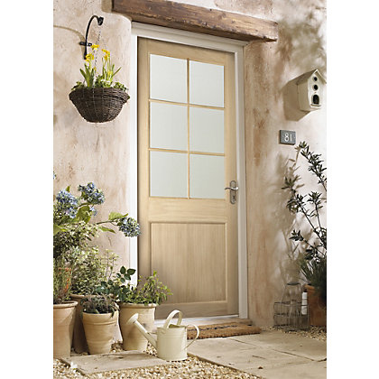 Image for Cambridge 6 Panel Lite Clear Glazed Oak Veneer External Door - 762mm Wide from StoreName