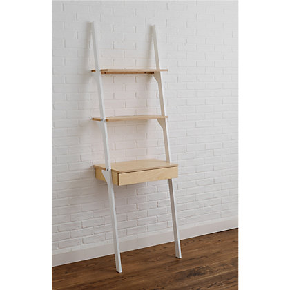 Image for Habitat Jai Ladder Shelving Unit with Desk - White from StoreName