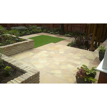 Image for Brett Natural Sandstone Paving Circle with Corners 2.48m dia 6.15sq m 73 Pack - Golden Sunset from StoreName