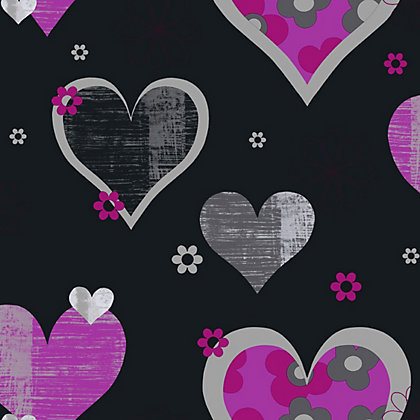 Image for Arthouse Happy Hearts Wallpaper - Black, Pink from StoreName
