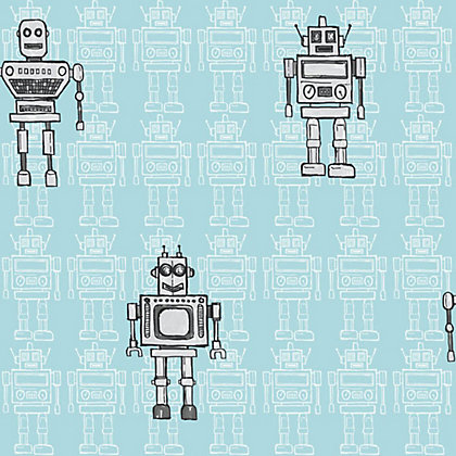 Image for Arthouse Retro Robot Wallpaper - Blue from StoreName