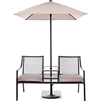 Rimini 2 Seater Metal Companion Seat with Parasol