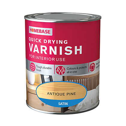 Image for Homebase Quickdry Varnish Satin Antique Pine - 750ml from StoreName