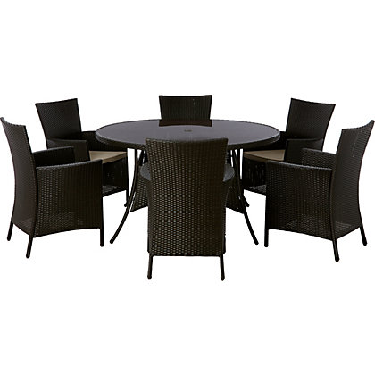 Panama 6 Seater Round Garden Furniture Set
