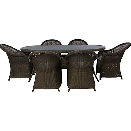 milazzo 6 seater rattan effect garden furniture set - Rattan Garden Furniture 6 Seater